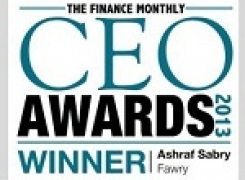 "Ashraf Sabry has awarded a CEO award for 2013 by ""Finance Monthly"""